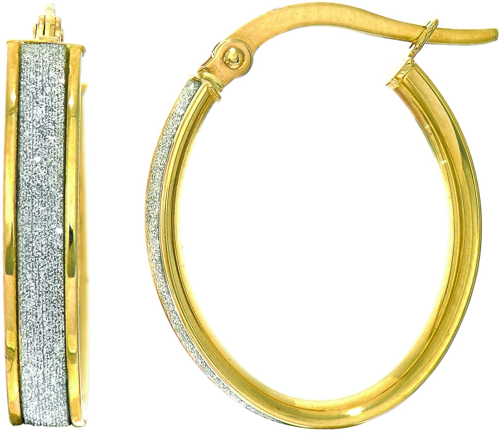 14K Yellow Gold 3.75x14x17mm Shiny Oval Hoop Earrings