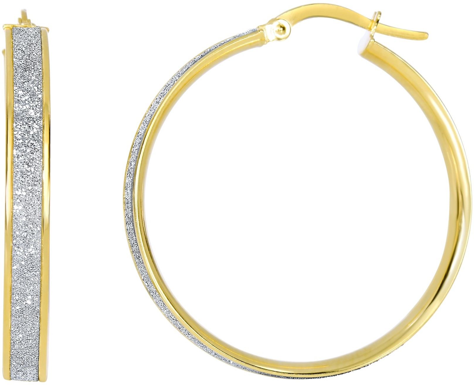 "14K Yellow Gold 3.75x28mm (0.15""x1.1"") Shiny Round Hoop Earrings"