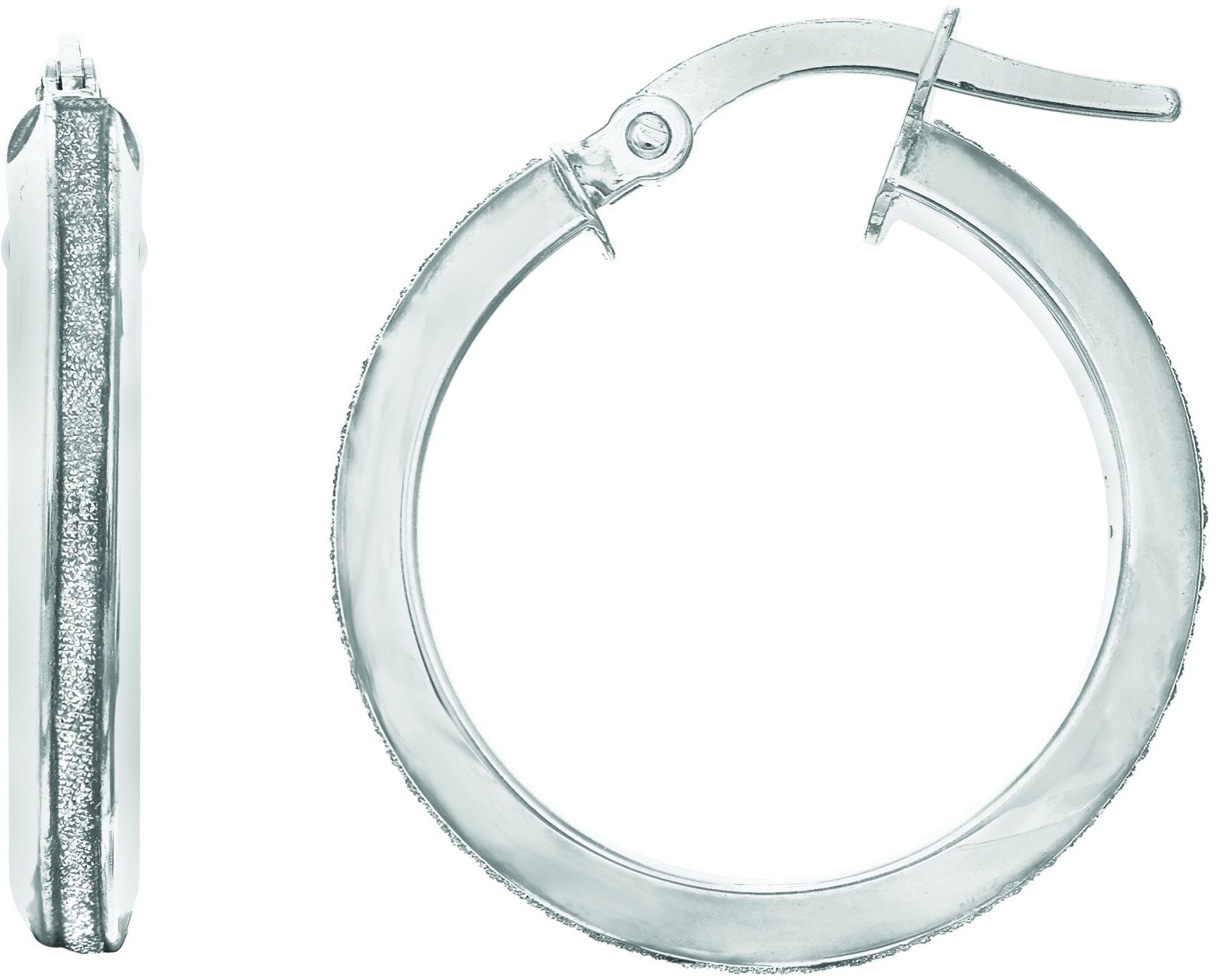"14K White Gold 2.95x15mm (0.12""x0.59"") Shiny Round Hoop Earrings"