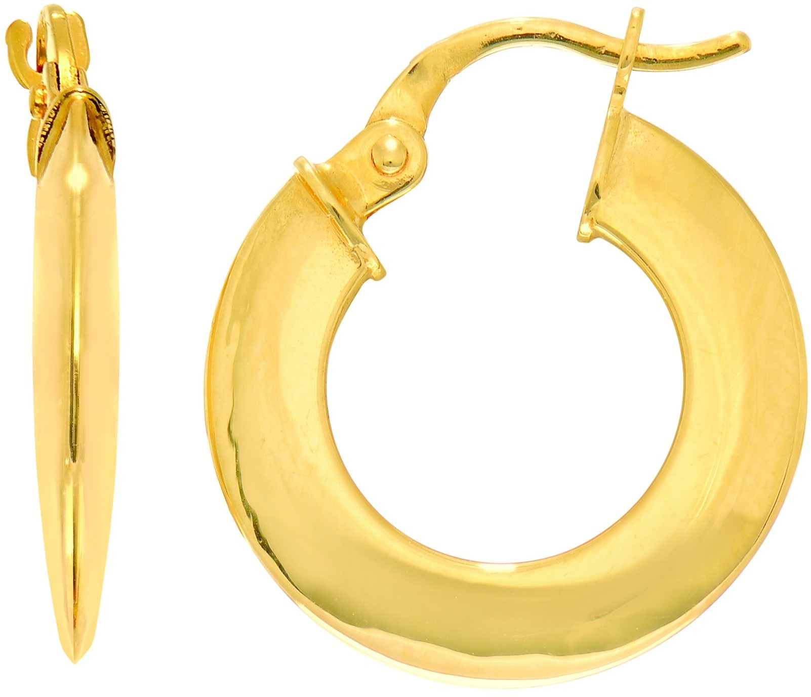 "14K Yellow Gold 4x12mm (0.16""x0.47"") Shiny Open Hoop Earrings"