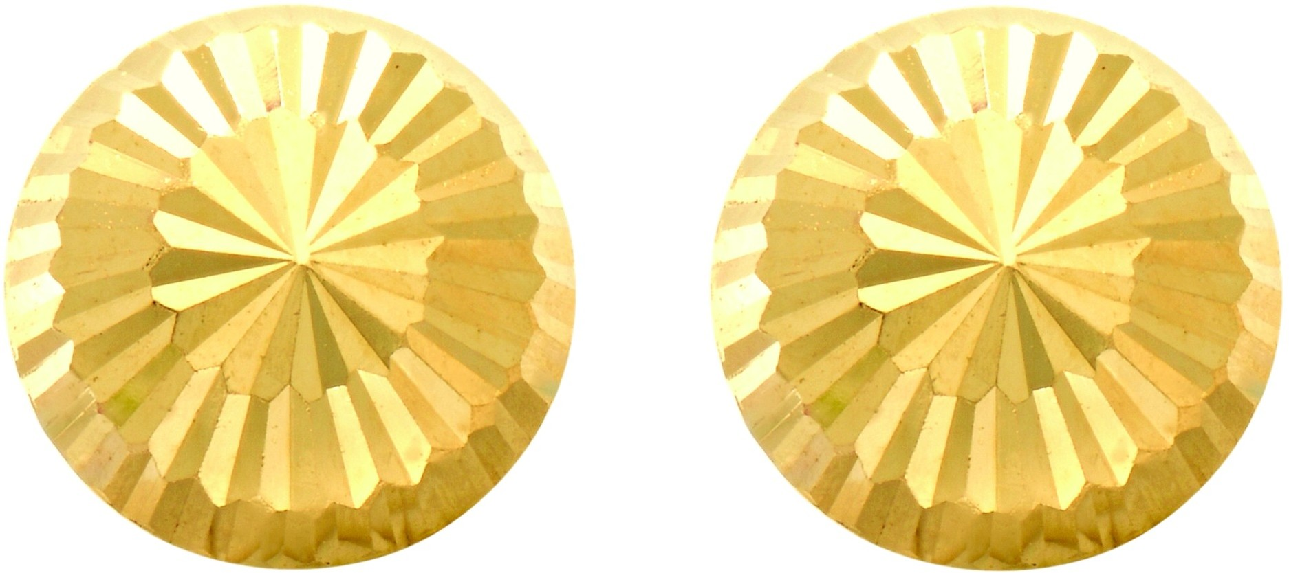"14K Yellow Gold 8.0mm (1/3"") Shiny Diamond Cut Stud Earrings"