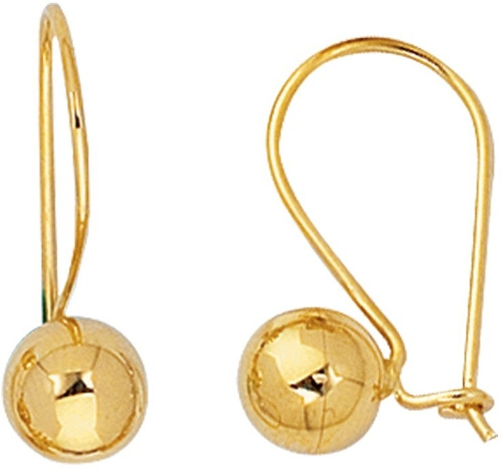 "14K Yellow Gold 7.0mm (2/7"") Round Ball Polished Lever Back Earrings"