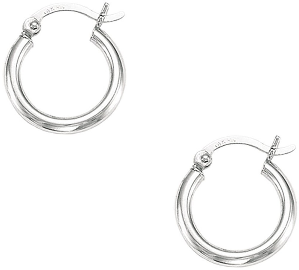"14K White Gold Shiny 2x15mm (0.08""x0.59"") Round Tube Hoop Earrings"