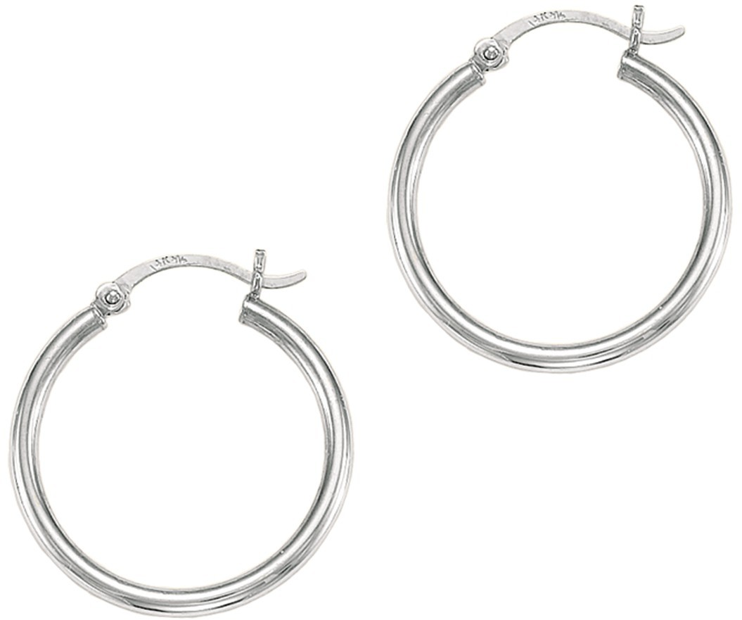 "14K White Gold Polished 2x25mm (0.08""x0.98"") Round Tube Hoop Earrings"
