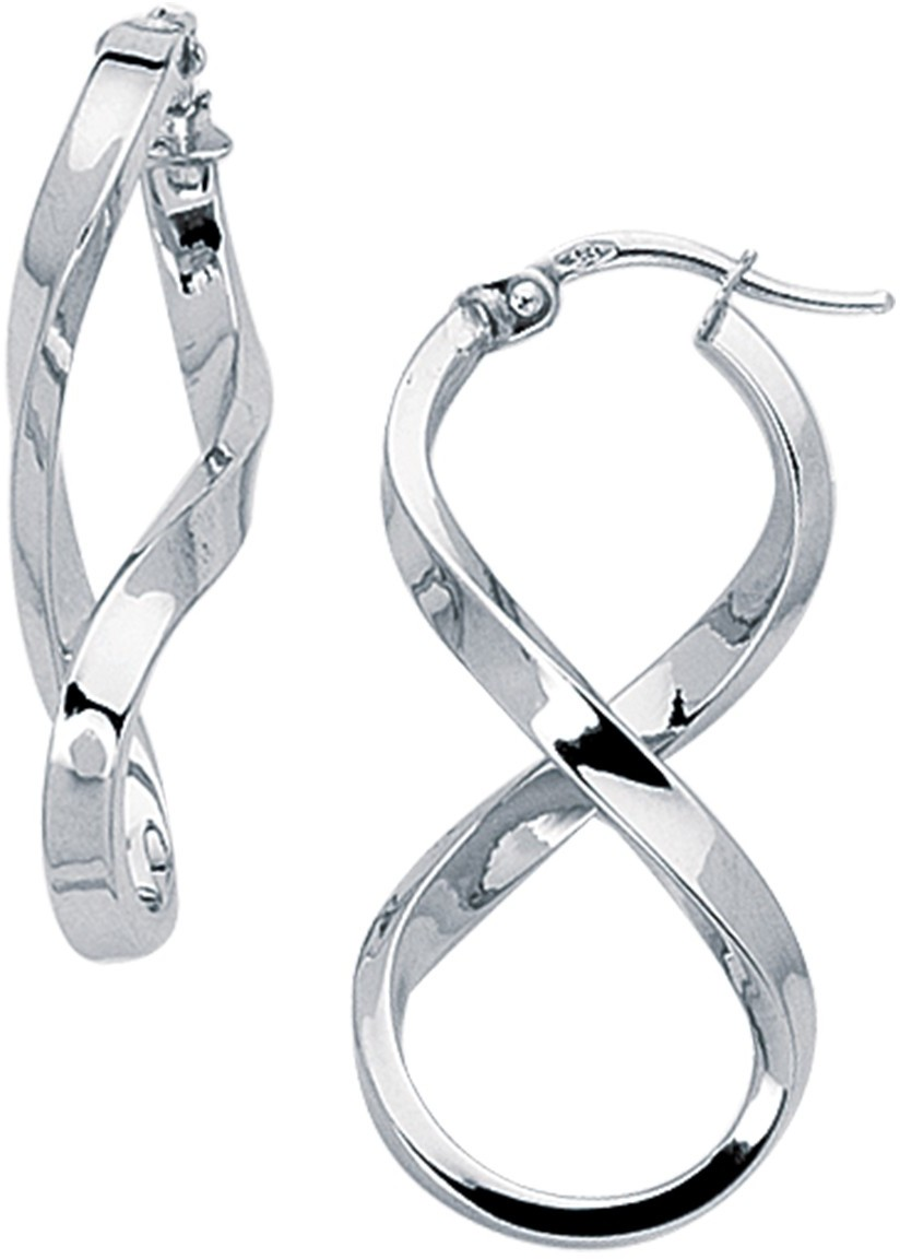14K White Gold Polished Square Tube Freeform Figure-8 Hoop Earrings