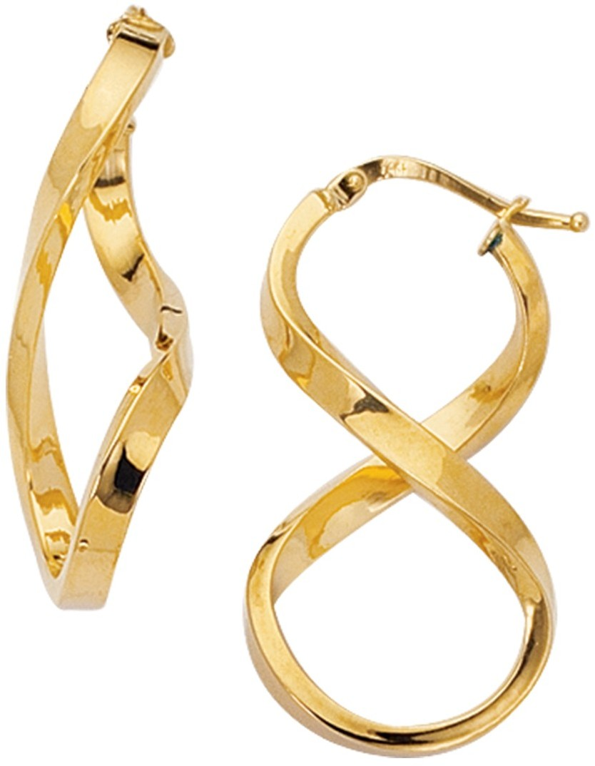 14K Yellow Gold Polished Square Tube Freeform 8 Like Hoop Earrings