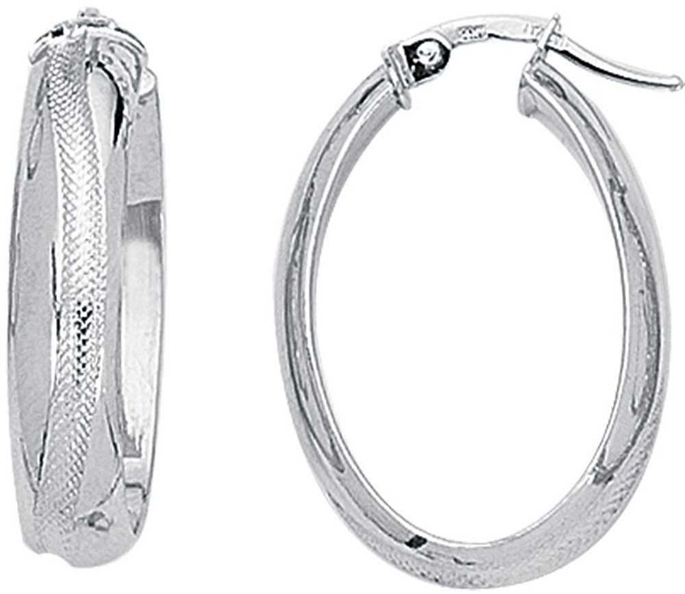 14K White Gold Polished Textured Oval Like Hoop Earrings