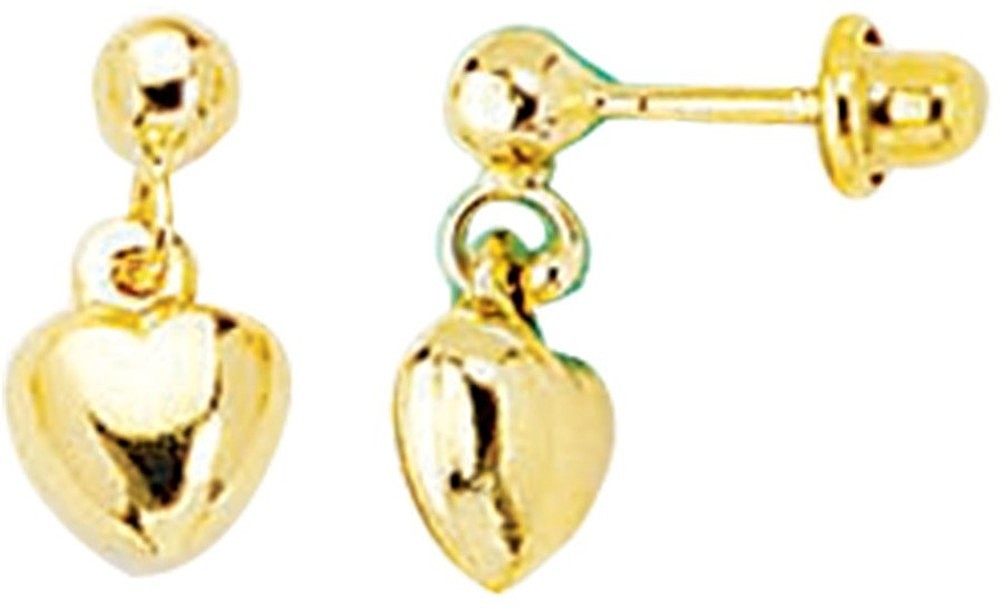 14K Yellow Gold Shiny Small Puff Heart Drop Earrings