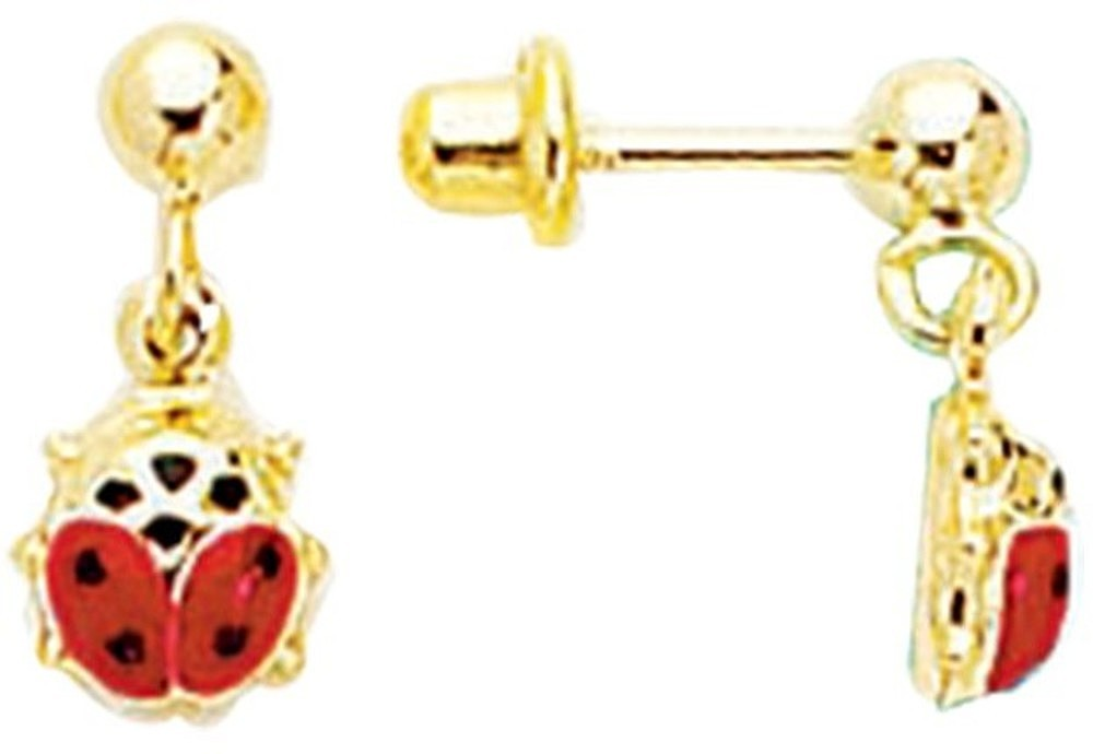14K Yellow Gold Chain Link w/ Ladybug Children Dangle Earring