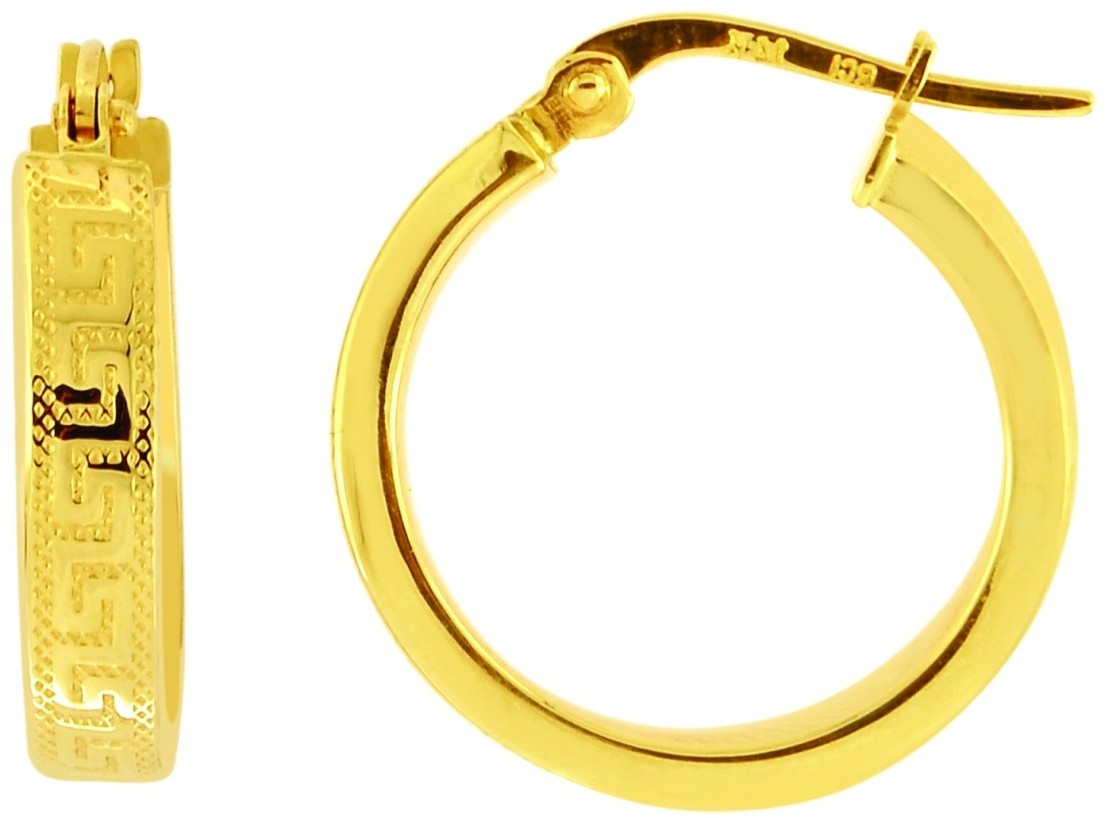 14K Yellow Gold Polished Textured Flat Round Large Hoop Earrings