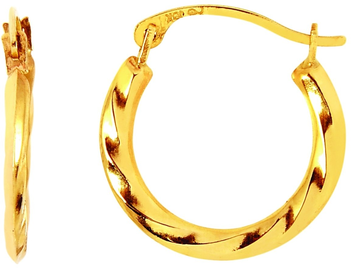 14K Yellow Gold Extra-small Polished Textured Round Hoop Earrings