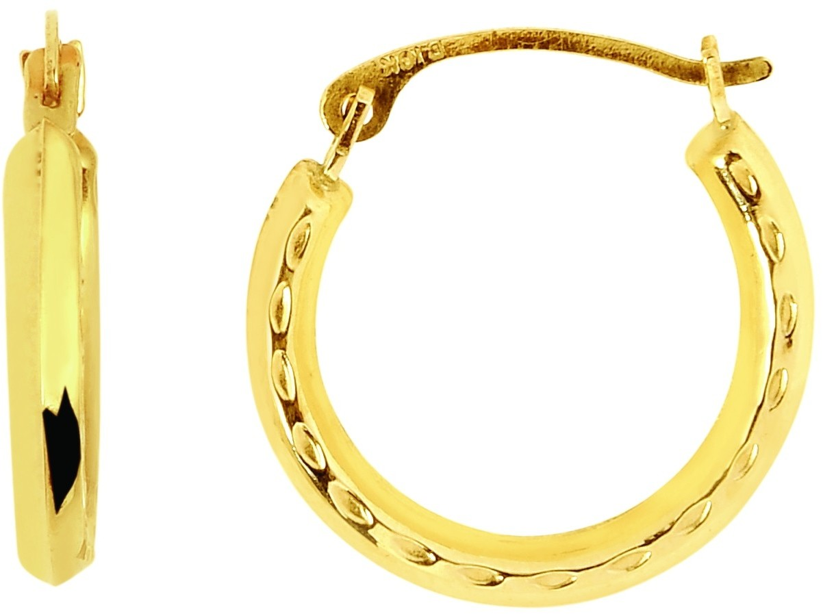 14K Yellow Gold Polished Textured Round Hoop Earrings