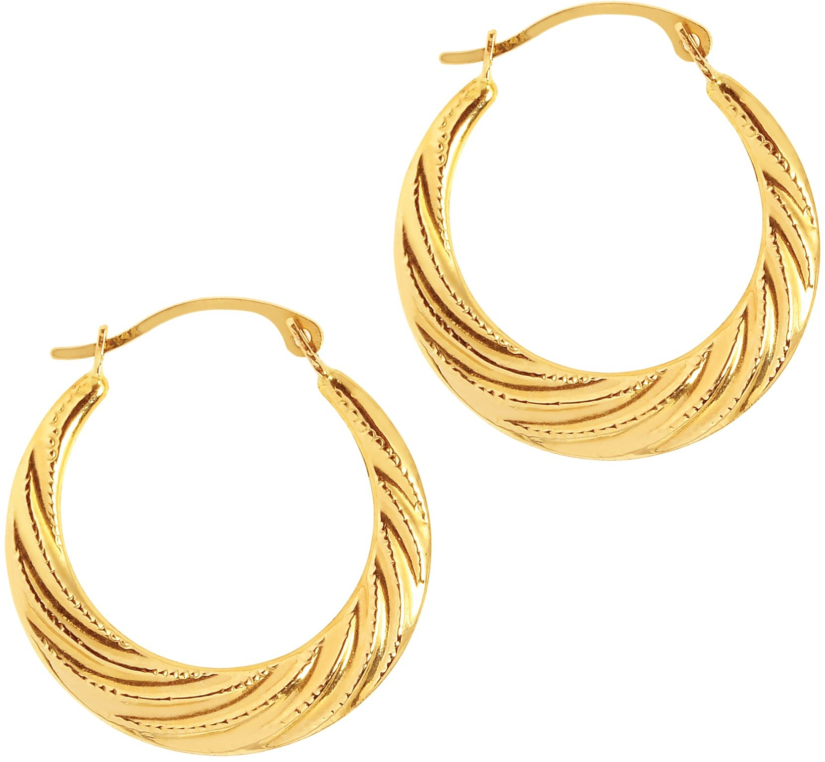 14K Yellow Gold Polished Textured Graduated Twisted Round Hoop Earrings