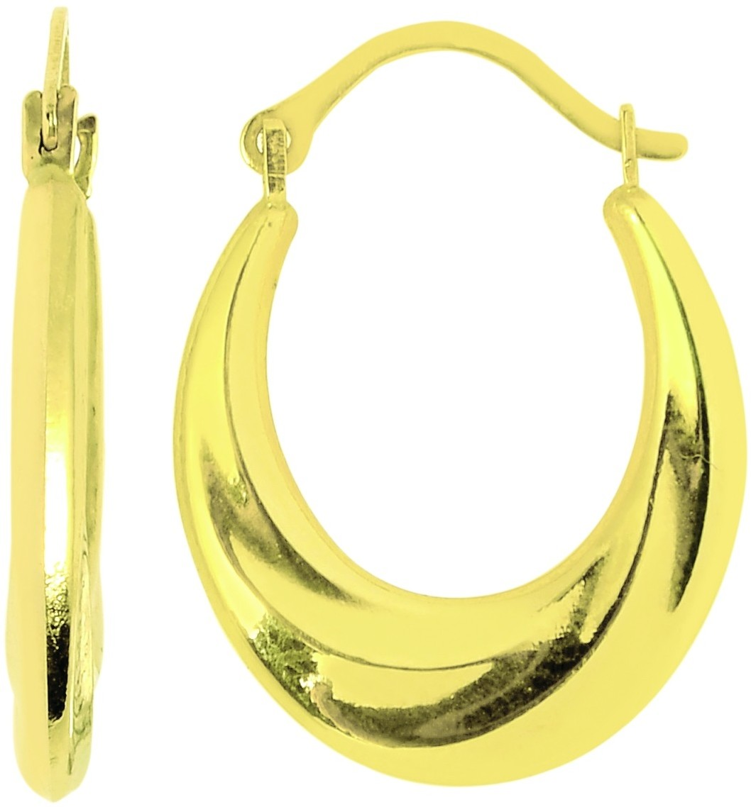 14K Yellow Gold Polished Graduated Round Hoop Earrings
