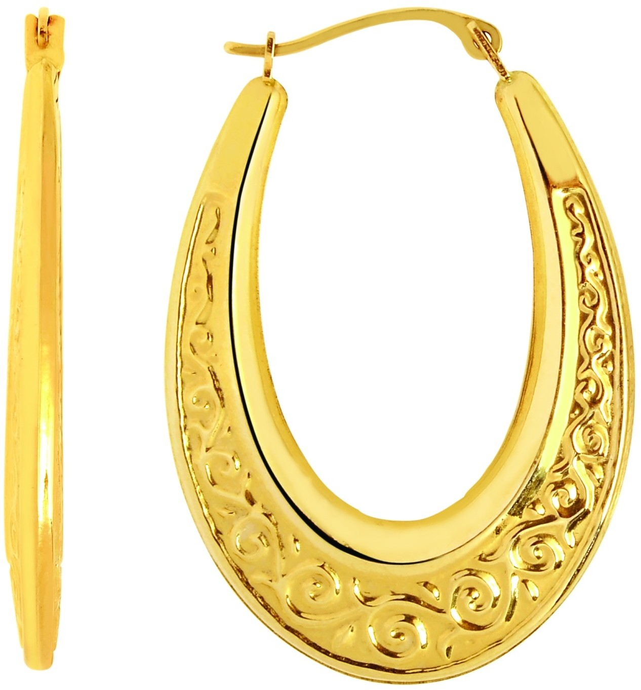 14K Yellow Gold Polished Textured Graduated Oval Like Hoop Earrings