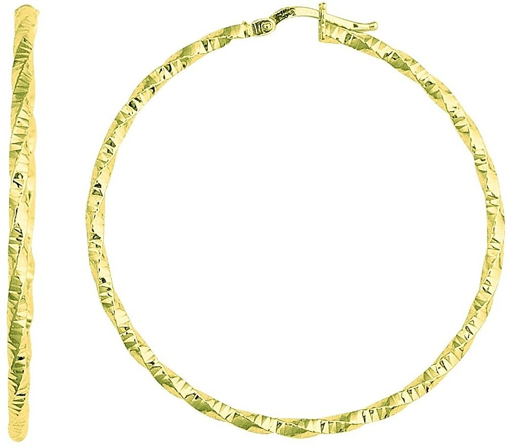 14K Yellow Gold Textured Polished Round Large Hoop Earrings