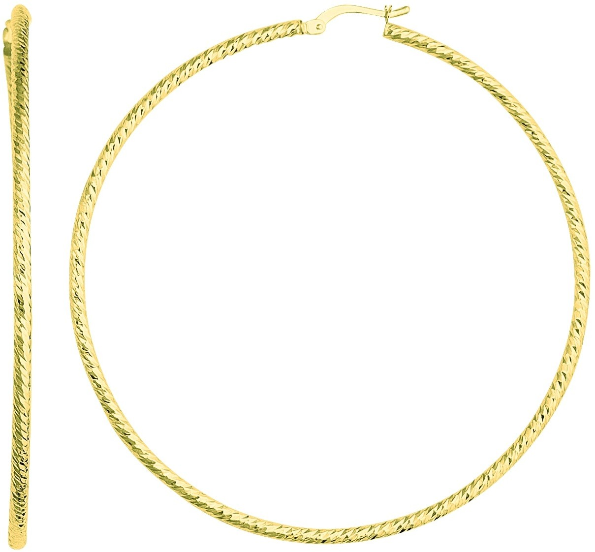 14K Yellow Gold Textured Braided Polished Round Large Hoop Earrings