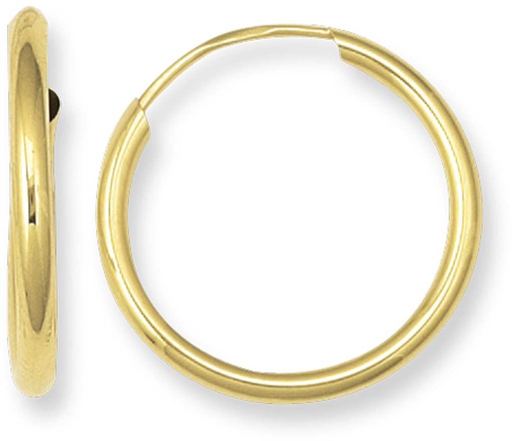 14K Yellow Gold Polished Round Endless Hoop Earrings