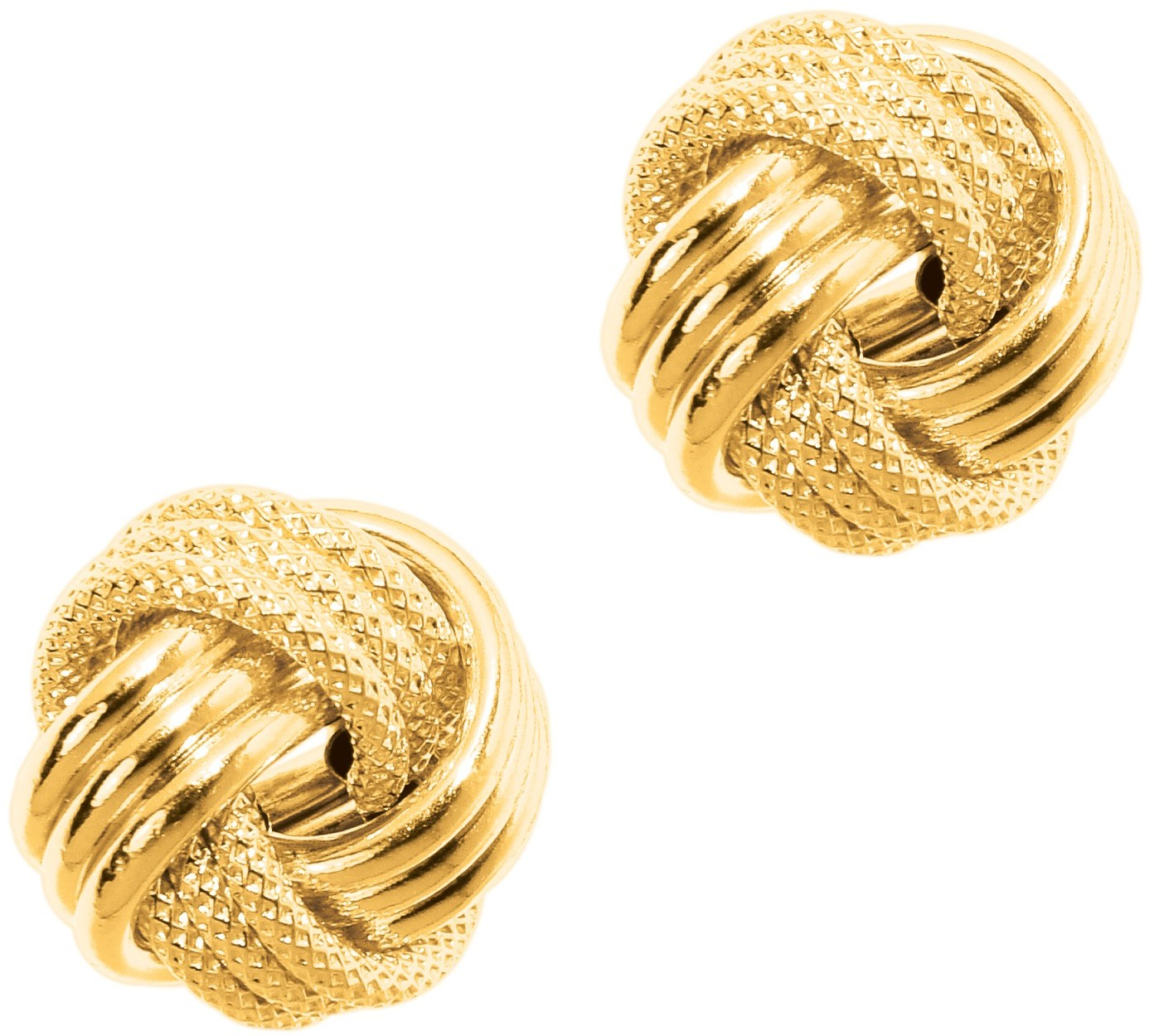 14K Yellow Gold Textured Polished 3 Ridge Large Love Knot Earrings