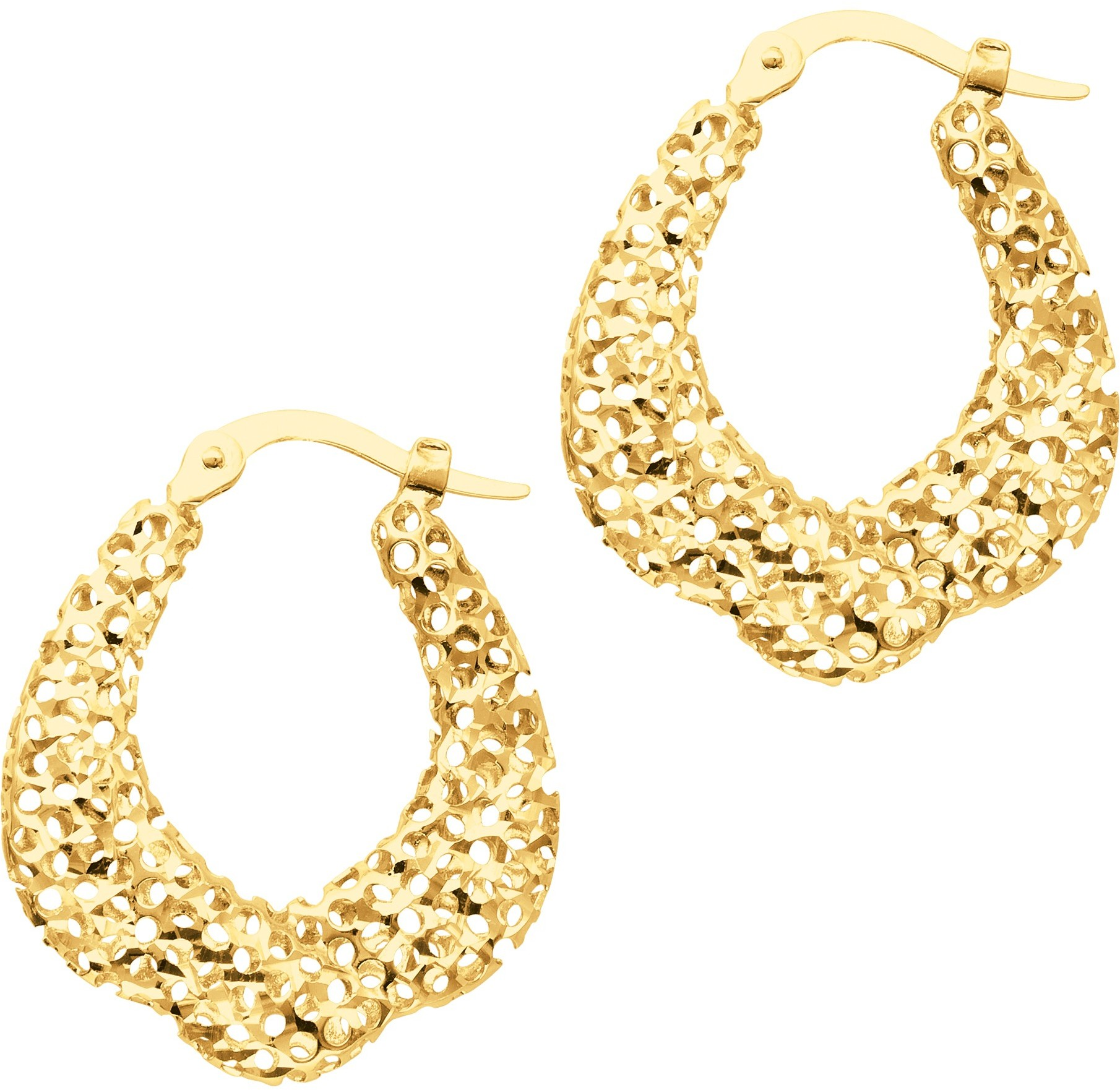 14K Yellow Gold Textured Polished Round Graduated Hoop Sparkle Earrings