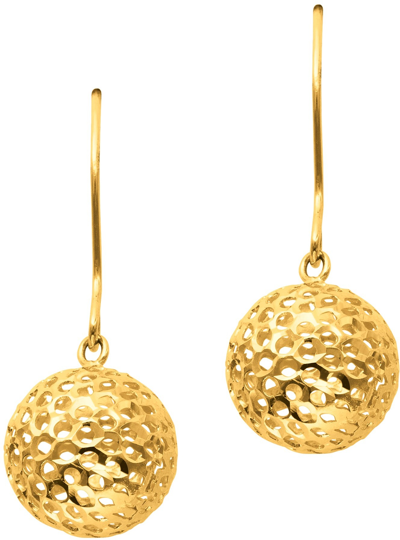 14K Yellow Gold Textured Polished Large Round Mesh Ball Fashion Dangle Earrings