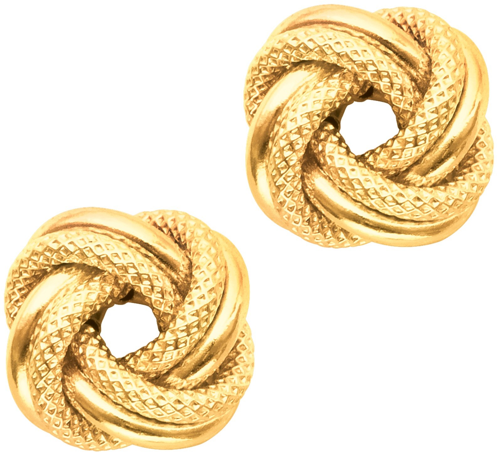 14K Yellow Gold Textured Polished Love Knot Earrings