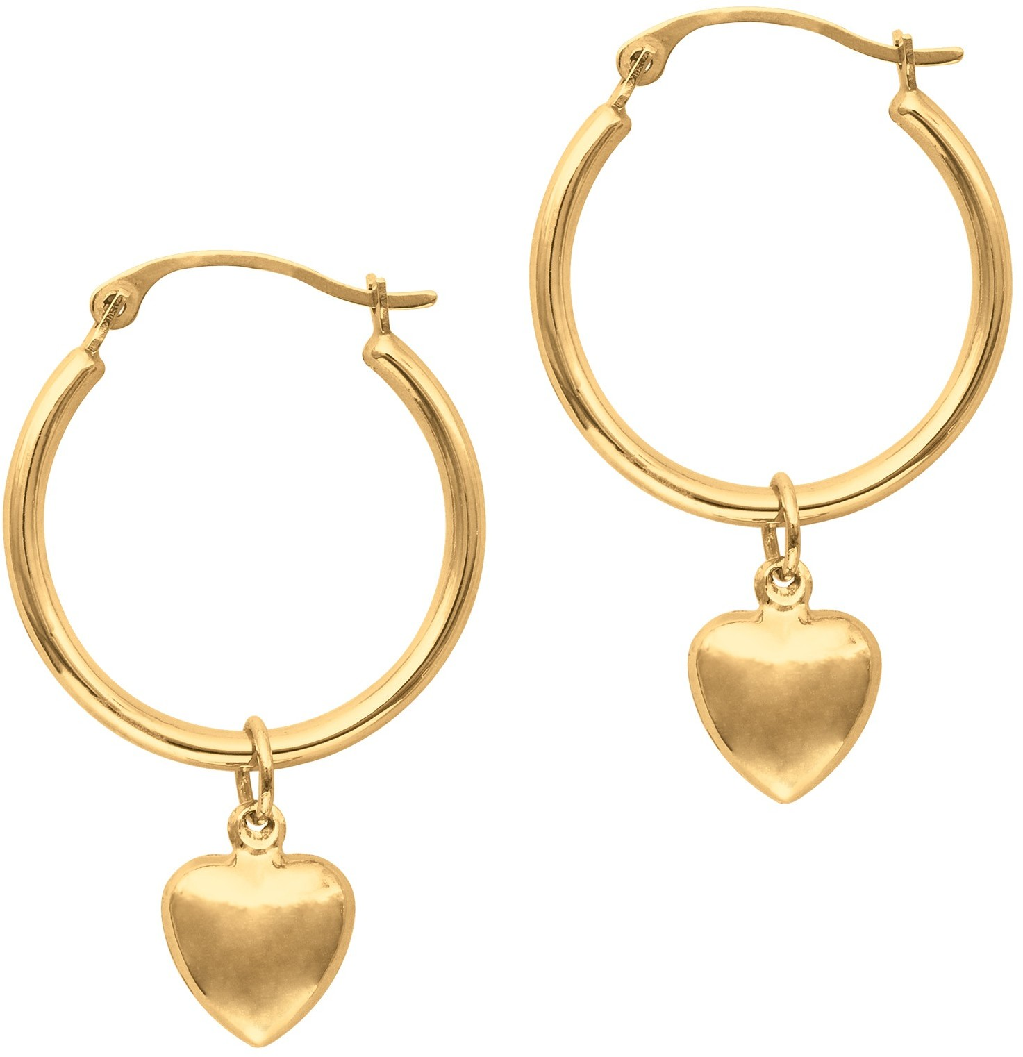 14K Yellow Gold Polished Round Hoop Earrings w/ Puff Heart