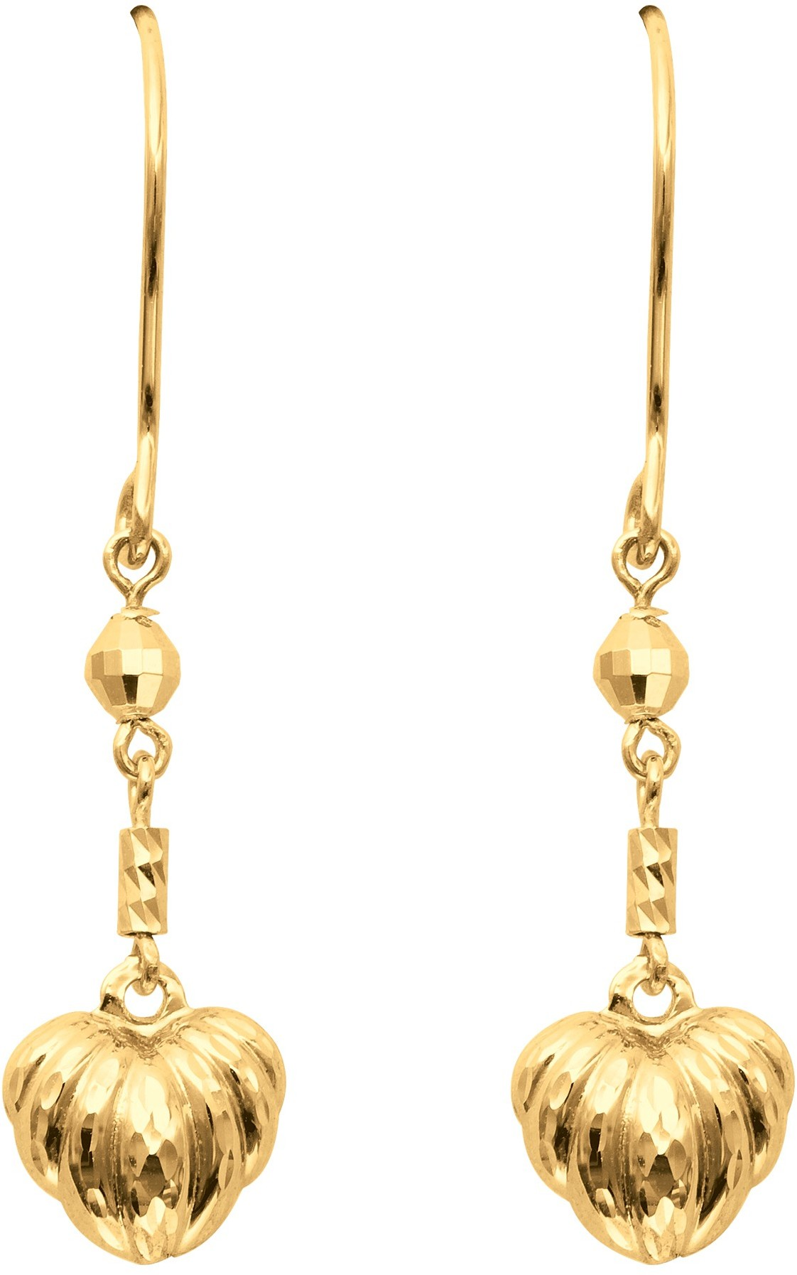 14K Yellow Gold Textured Polished Chain Link Dangle Earrings w/ Puff Heart