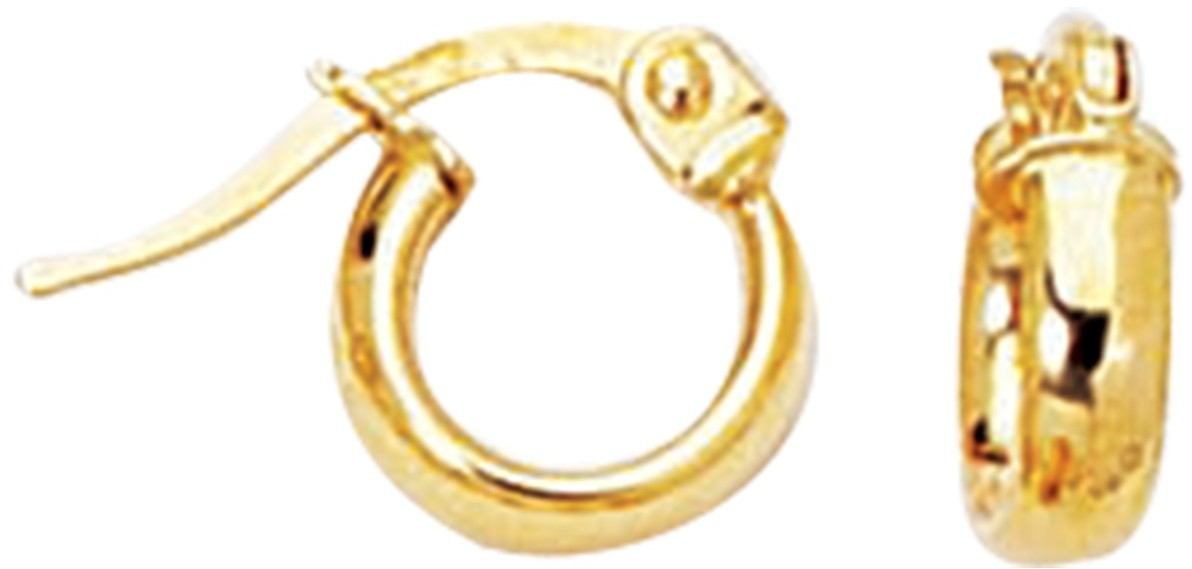14K Yellow Gold Shiny Hoop Earrings