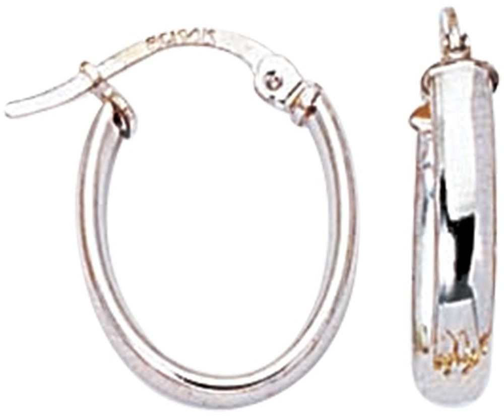 14K White Gold Polish Domed Hoop Like Children Earring