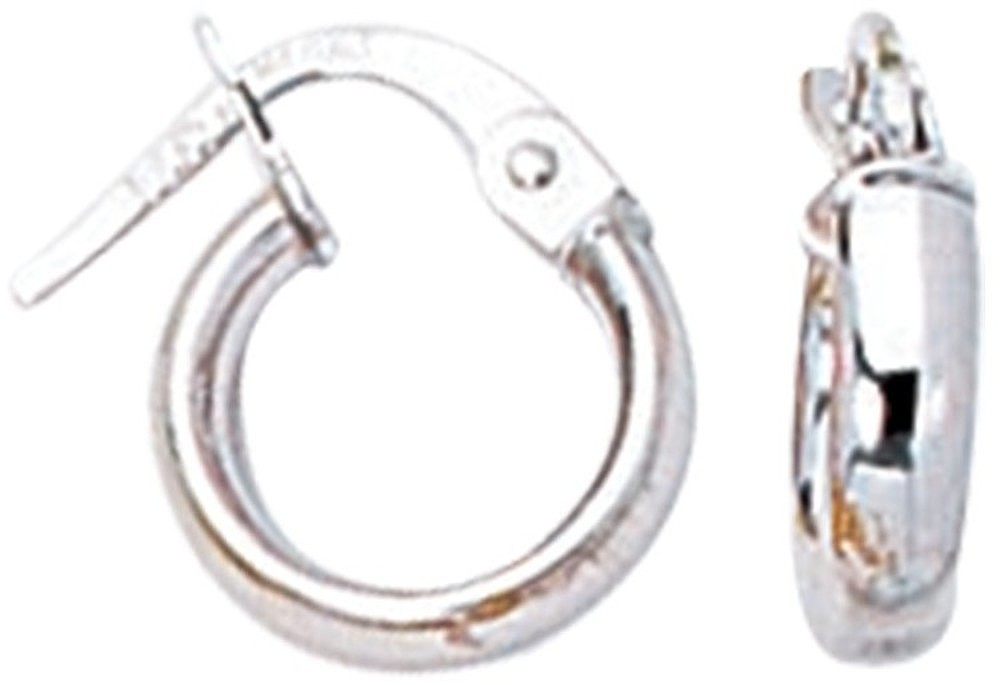 14K White Gold Shiny Round Hoop Earrings
