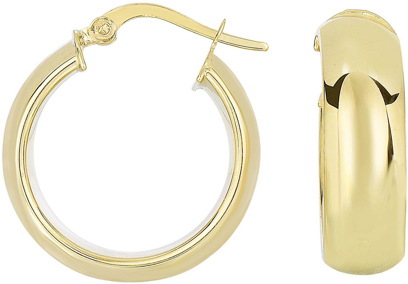 14K Yellow Gold Polished Domed Timeless Hoop Earrings
