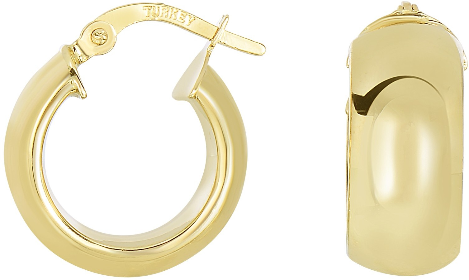 14K Yellow Gold Polished Domed Timeless Hoop Earrings W/ Garnish