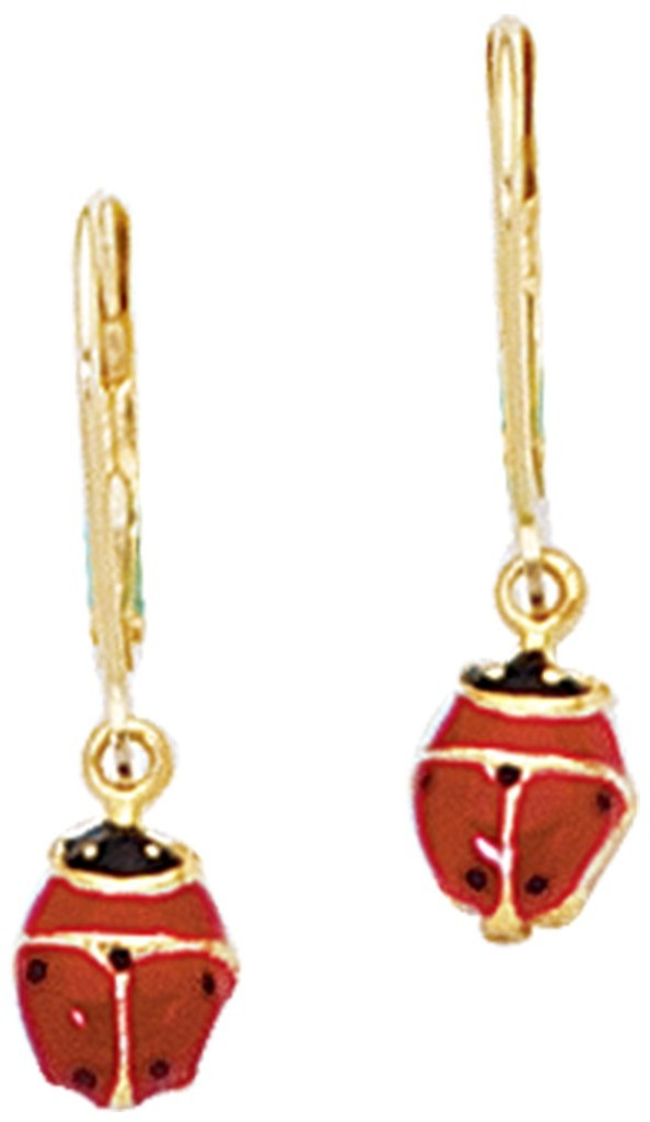 14K Yellow Gold Polished Red/black Ladybug Lever Back Earrings