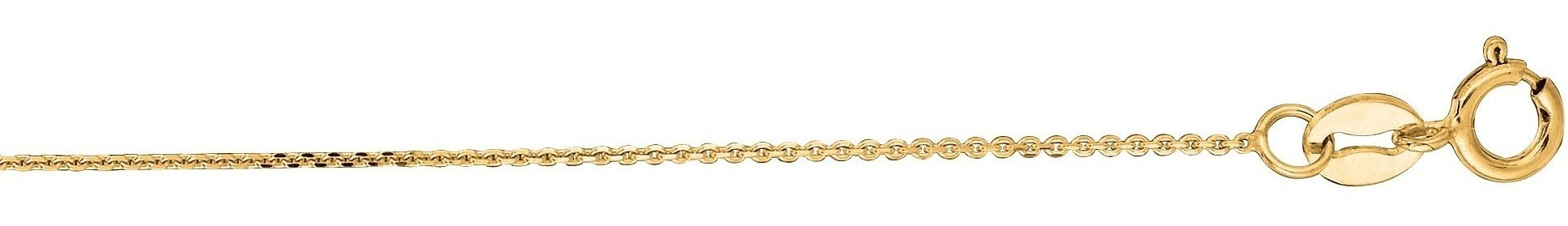 "16"" 14K Yellow Gold 0.5mm (0.02"") Polished Diamond Cut Cable Link Chain w/ Spring Ring Clasp"