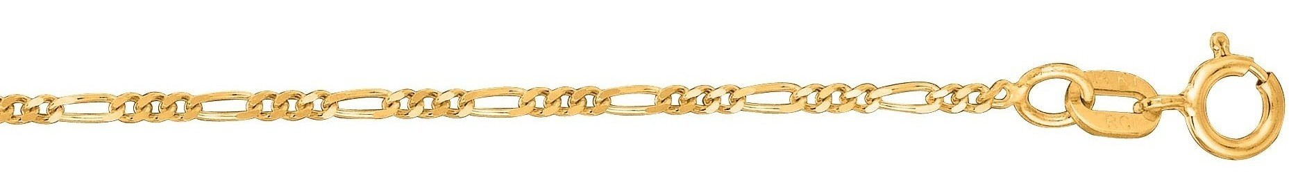 "18"" 14K Yellow Gold 1.3mm (0.05"") Polished Diamond Cut Alternate 3 Round 1 Long Oval Shape Classic Figaro Chain w/ Spring Ring Clasp"