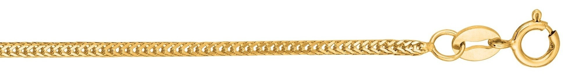 "16"" 14K Yellow Gold 1.0mm (0.04"") Polished Diamond Cut Foxtail Chain w/ Lobster Clasp"