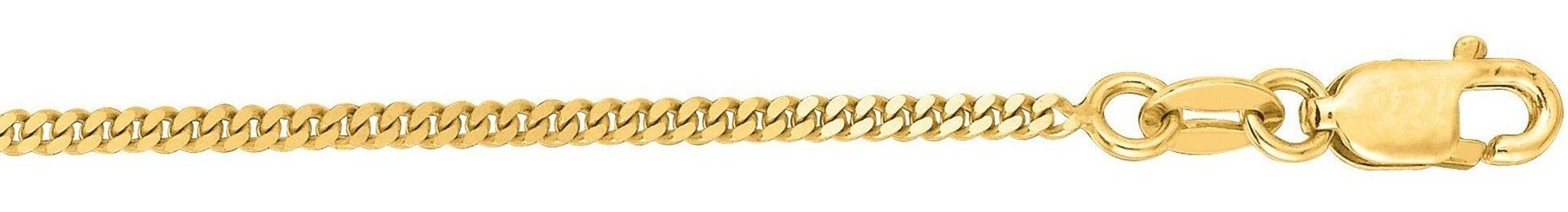 "16"" 14K Yellow Gold 1.5mm (0.06"") Polished Diamond Cut Gourmette Chain w/ Lobster Clasp"