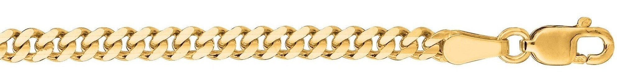 "18"" 14K Yellow Gold 3.0mm (1/8"") Polished Diamond Cut Gourmette Chain w/ Lobster Clasp"