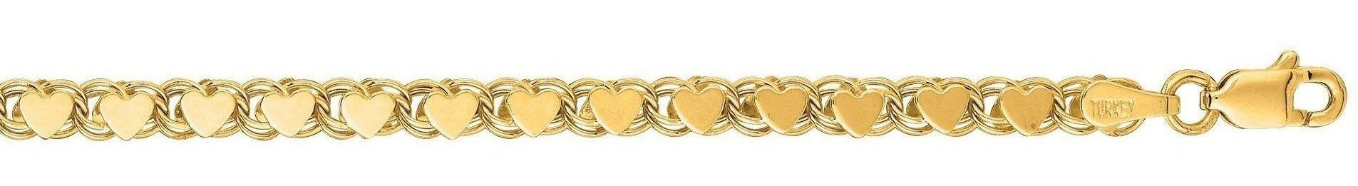 "10"" 14K Yellow Gold 3.3mm (1/8"") Polished Diamond Cut Heart Chain w/ Lobster Clasp"