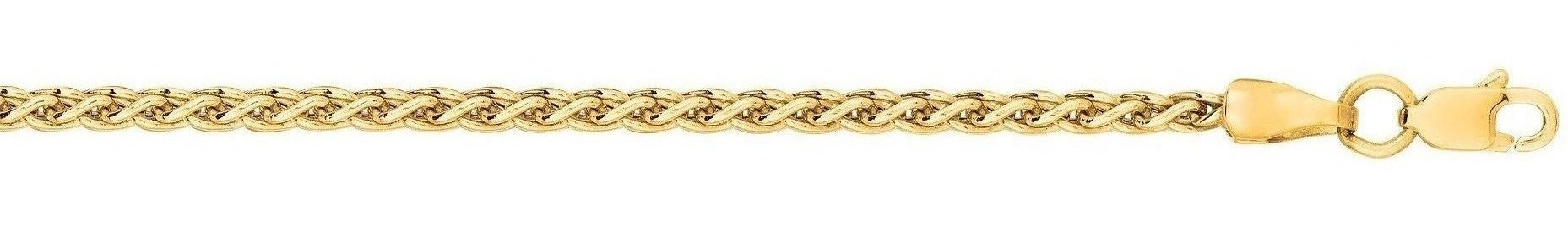 "18"" 14K Yellow Gold 2.4mm (0.09"") Polished Diamond Cut Light Weight Wheat Chain w/ Lobster Clasp"