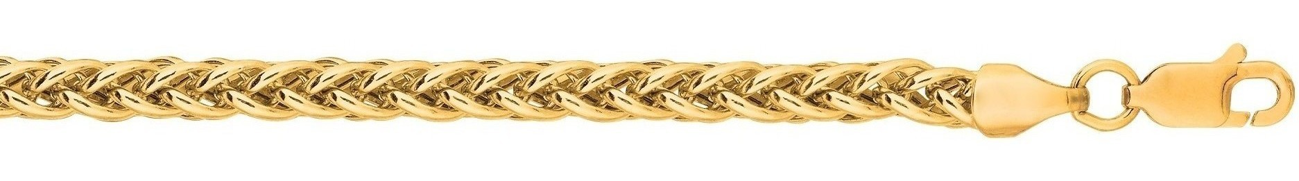 "20"" 14K Yellow Gold 3.3mm (1/8"") Polished Diamond Cut Light Weight Wheat Chain w/ Lobster Clasp"