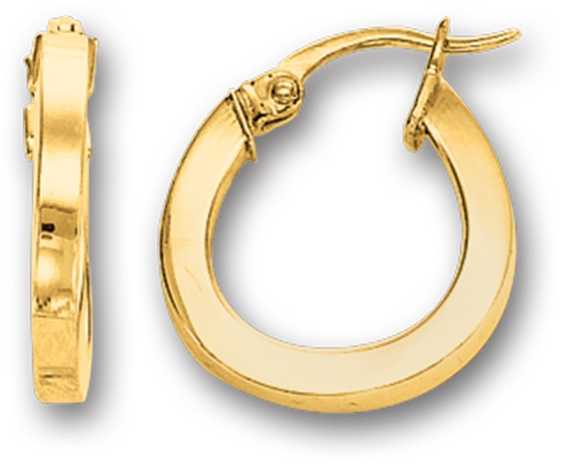 14K Yellow Gold Polished Square Tube Round Like Fancy Hoop Earrings