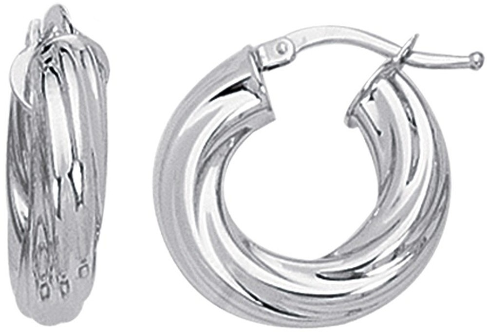 14K White Gold Polished Twisted Round Like Fancy Small Hoop Earrings