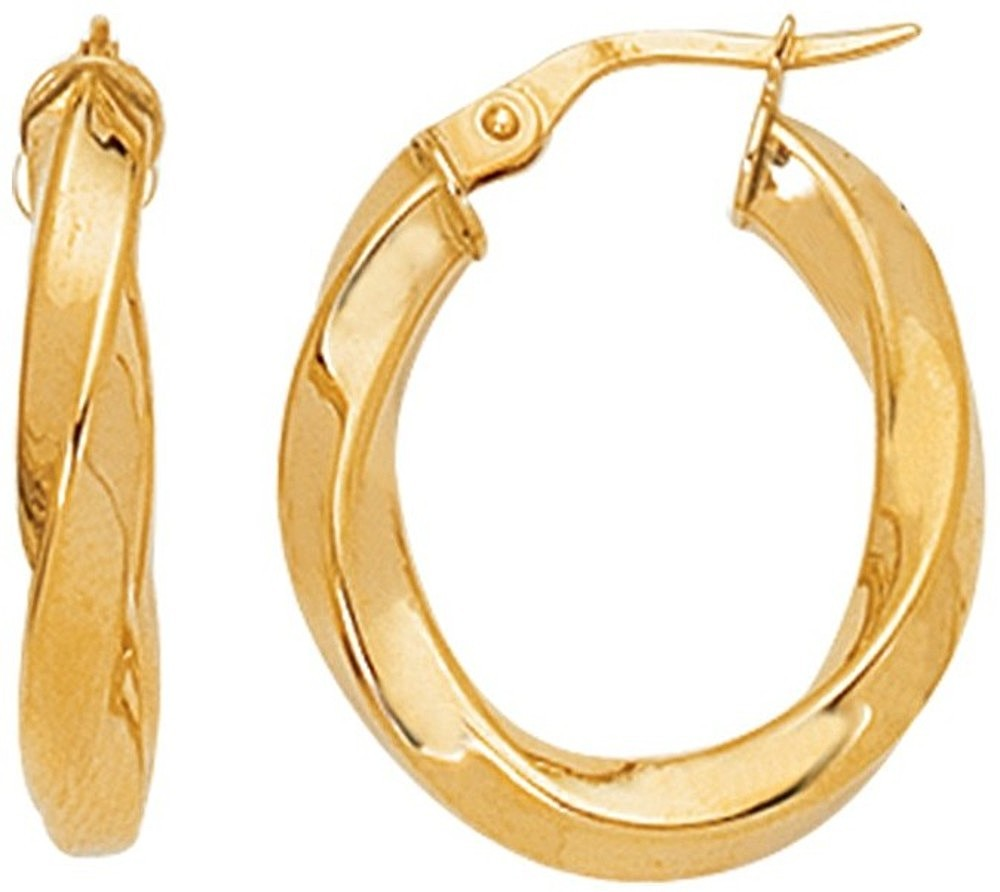 14K Yellow Gold Polished Twisted Round Like Fancy Hoop Earrings