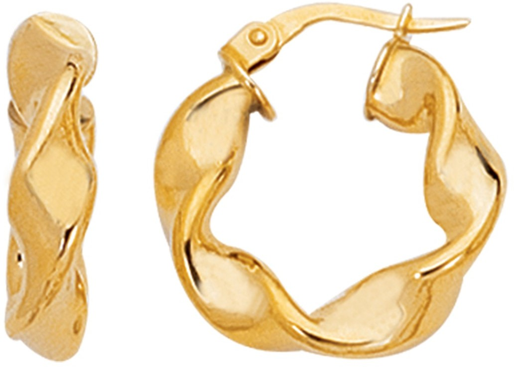 14K Yellow Gold Polished Twisted Round Like Fancy Small Hoop Earrings