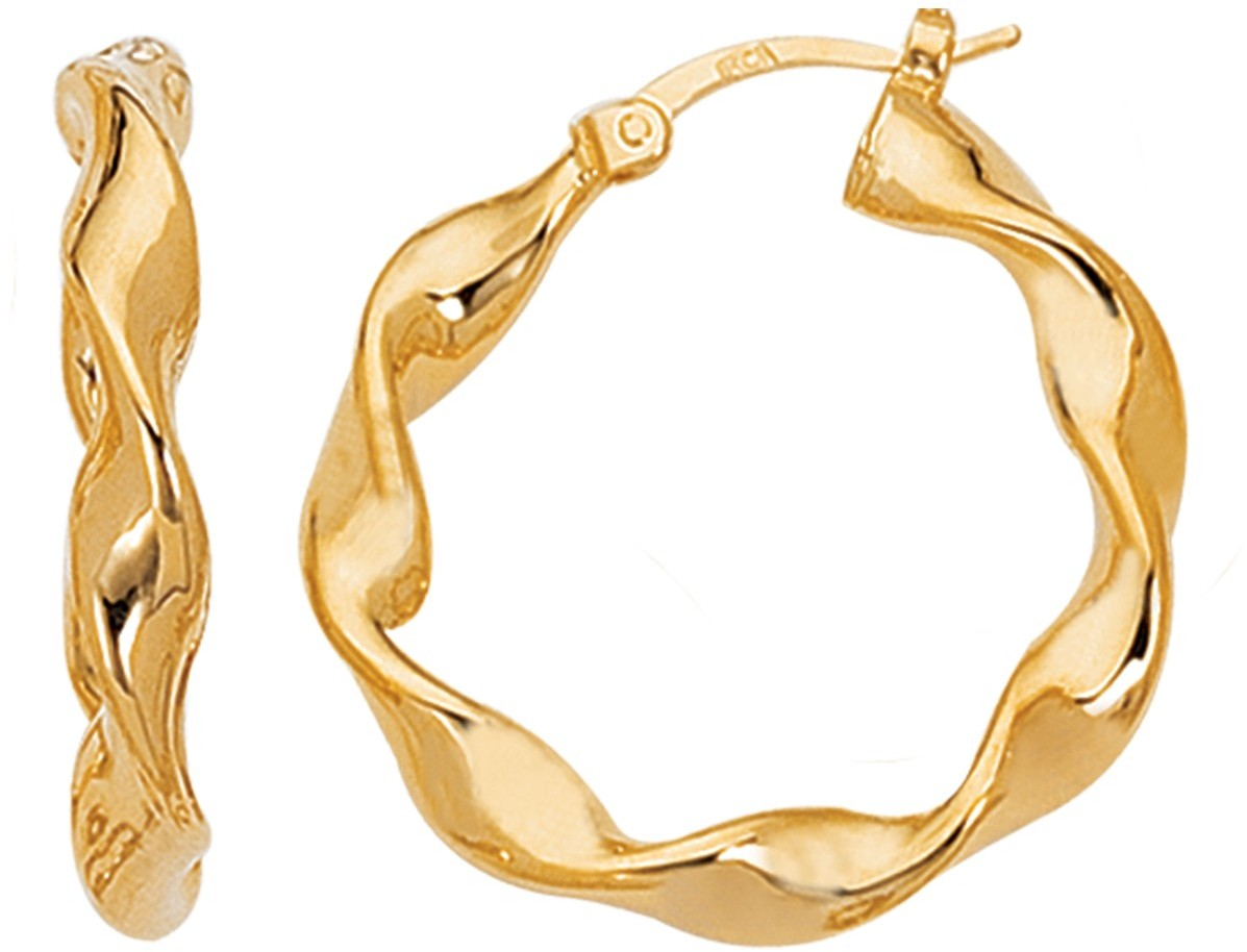 14K Yellow Gold Polished Twisted Round Like Fancy Large Hoop Earrings