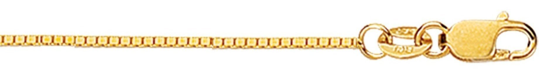 "20"" 18K Yellow Gold 0.8mm (0.03"") Polished Diamond Cut Box Chain w/ Lobster Clasp"