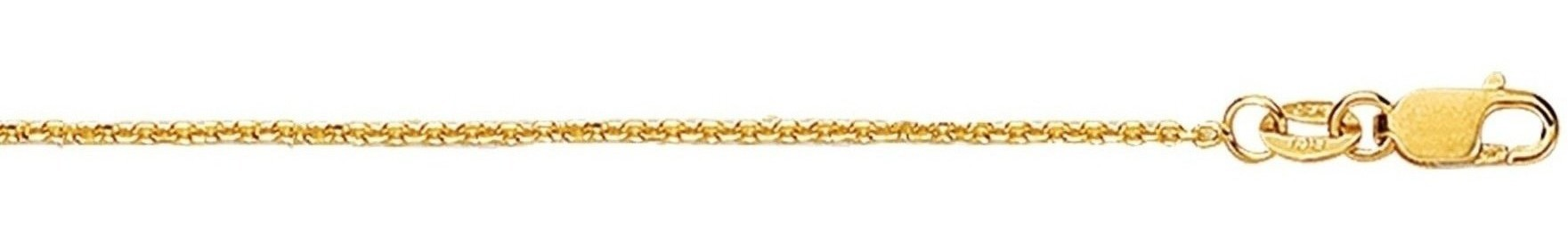 "18"" 18K Yellow Gold 1.1mm (0.04"") Polished Diamond Cut Cable Chain w/ Lobster Clasp"