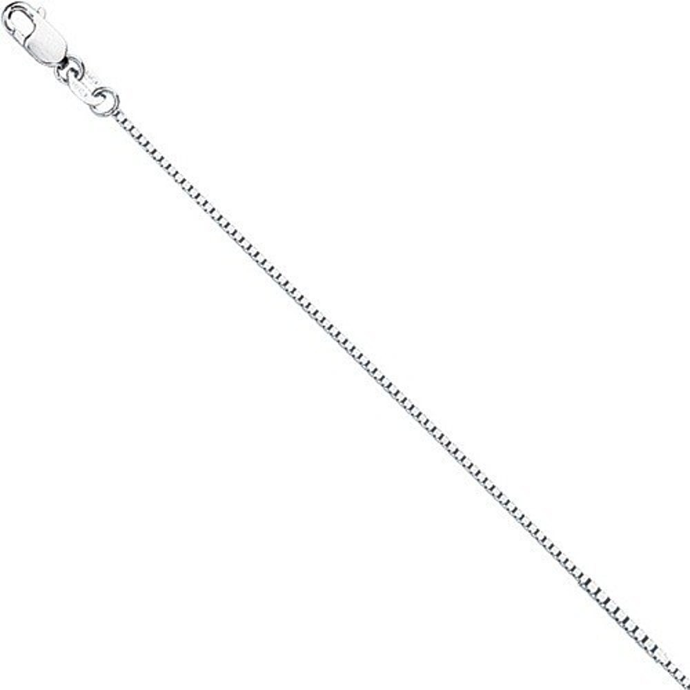 "18"" 18K White Gold 0.8mm (0.03"") Polished Diamond Cut Box Chain w/ Lobster Clasp"